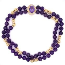 Closeup photo of 14K Yellow Gold 10mm Amethyst Bead Necklace with .25tcw Diamond Clasp 88.0g, 15""