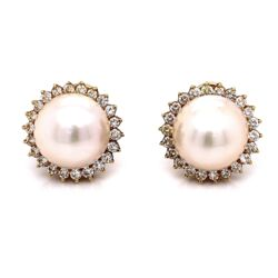 Closeup photo of 18K Yellow Gold Mabe Pearl & 1.35tcw Diamond Earrings 14.2g