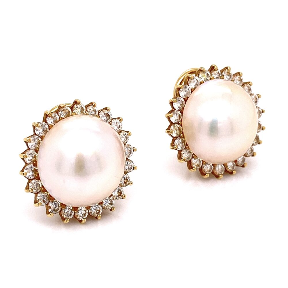 Image 2 for 18K Yellow Gold Mabe Pearl & 1.35tcw Diamond Earrings 14.2g