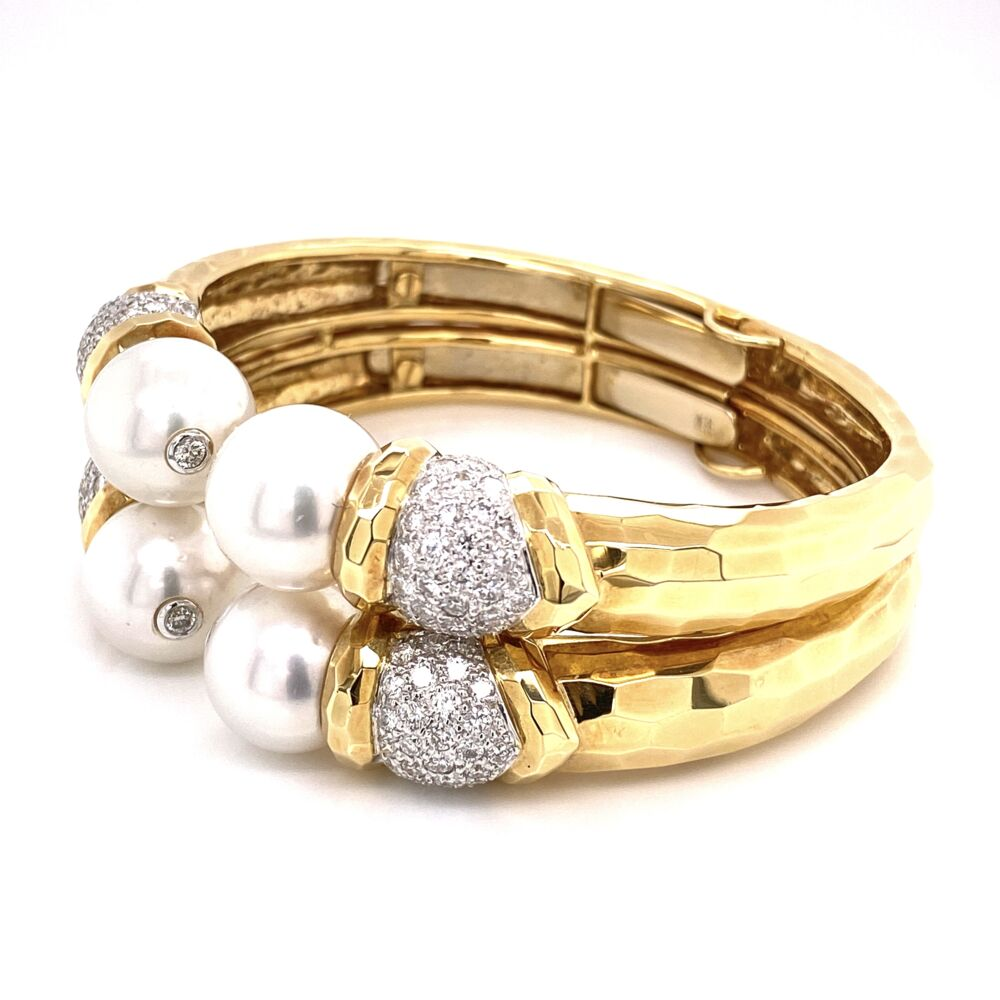 Image 2 for 18K Yellow Gold Hammered Cuff 12mm Pearls & 3.20tcw Diamonds 74.3g
