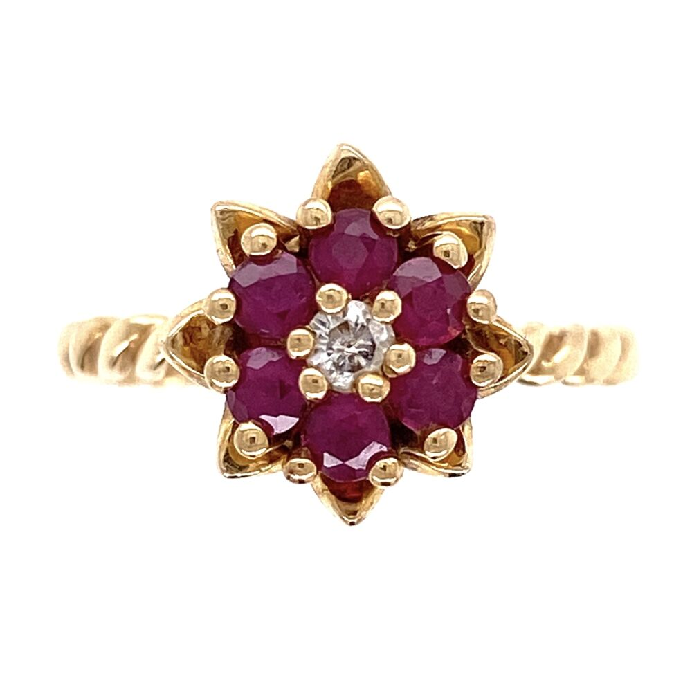 14K Yellow Gold Tulip Ring with .35tcw Ruby & .04ct Diamond 3.8g, s6