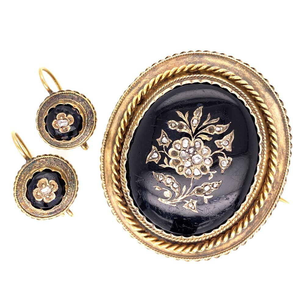 18K & Gold Filled Victorian Black Resin & Diamond Brooch & Earring Set 24.4g