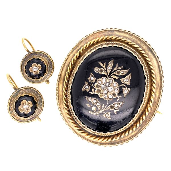 Closeup photo of 18K & Gold Filled Victorian Black Resin & Diamond Brooch & Earring Set 24.4g