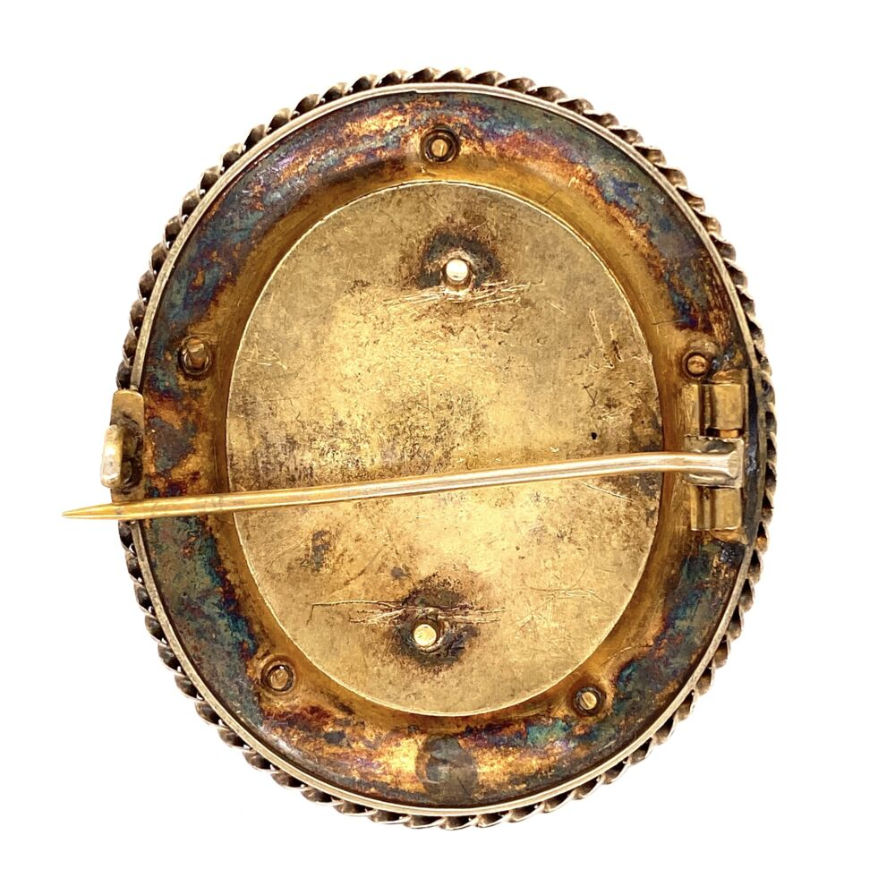 Image 2 for 18K & Gold Filled Victorian Black Resin & Diamond Brooch & Earring Set 24.4g