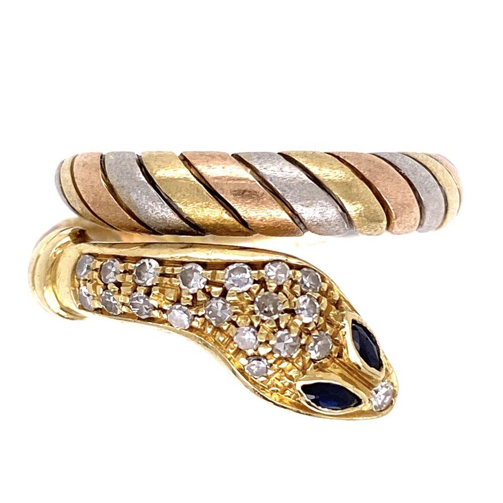 18K Tri Gold Wrapped Snake Ring .20tcw Diamonds 7.9g, s7.5