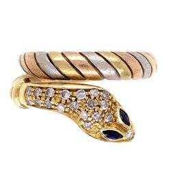 Closeup photo of 18K Tri Gold Wrapped Snake Ring .20tcw Diamonds 7.9g, s7.5