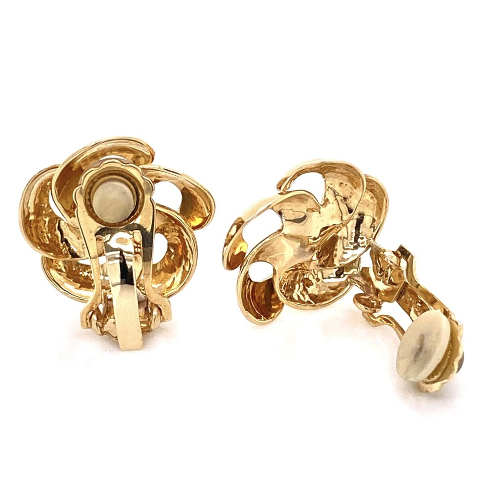 "Image 2 for 14K Yellow Gold Scalloped Pearl Clip Earrings 8.5g, .8"" Diameter"