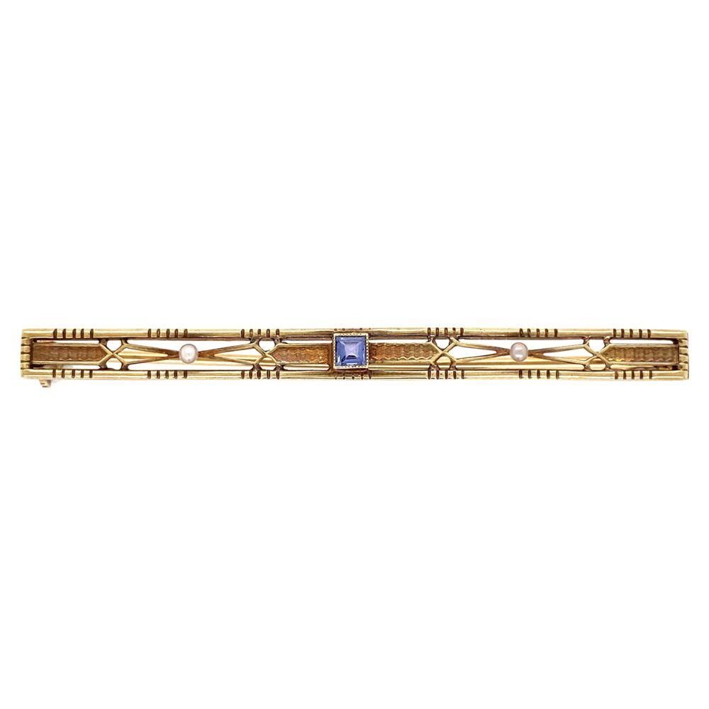 "14K Yellow Gold Vintage Bar Pin 3.66g Syn. Sapphire 2.25"" Long"