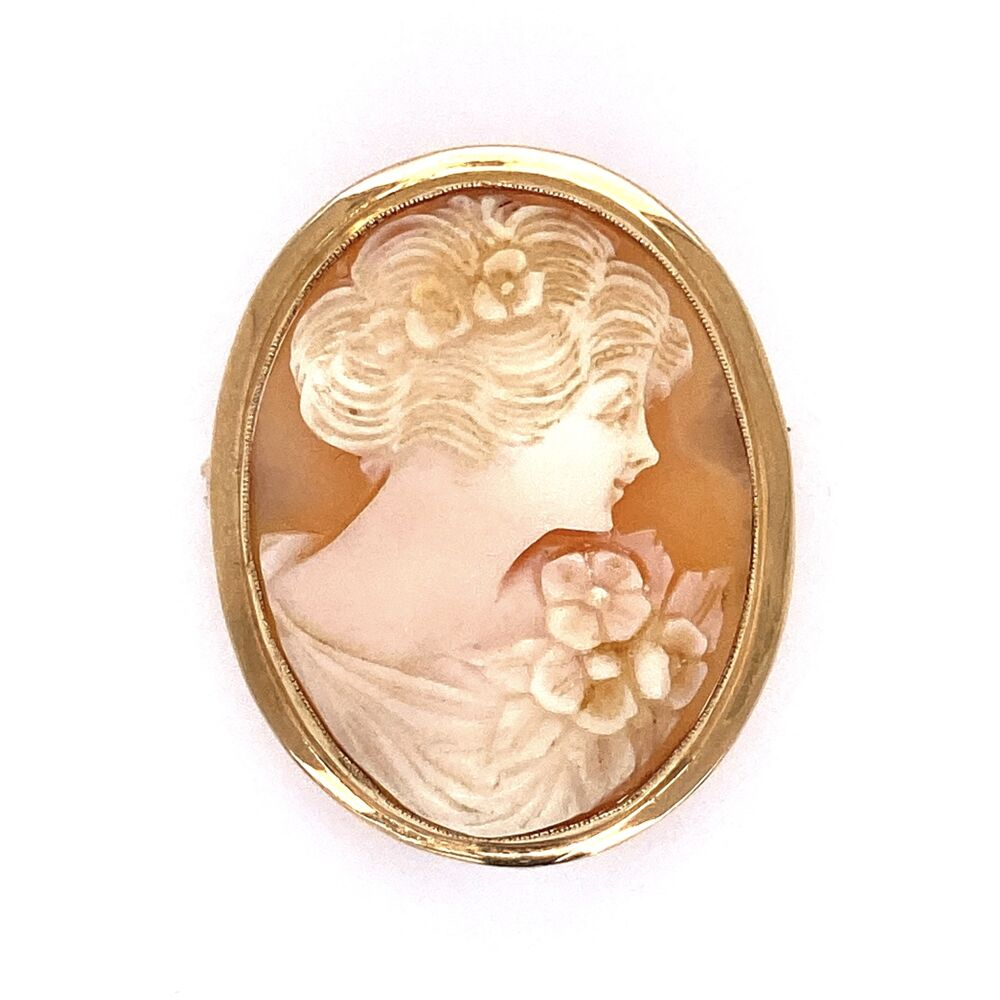 """14K Yellow Gold Oval Shell Cameo Brooch 3.9g 1.2x.85"""""""