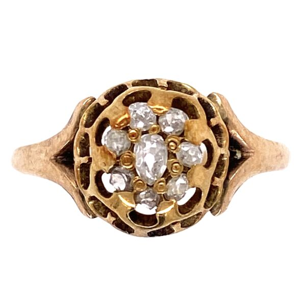 Closeup photo of 14K Yellow Gold Victorian Senaille Cut Diamond Cluster Ring 1.8g, s7