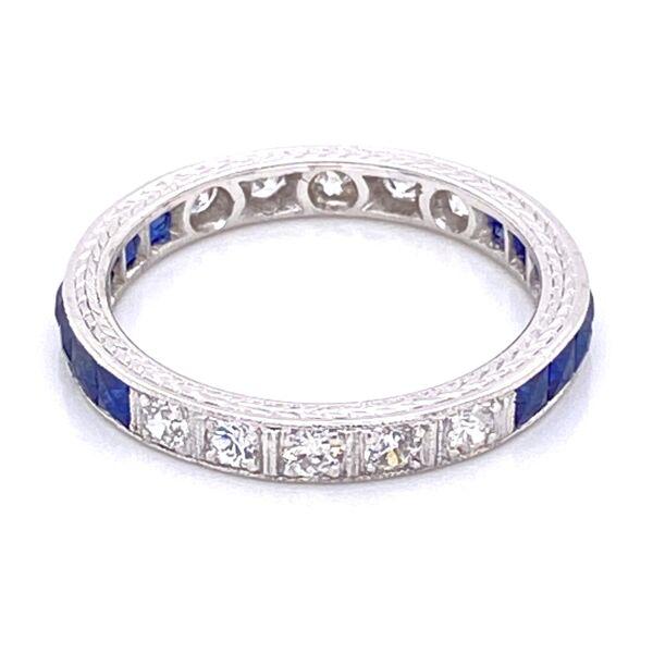 Closeup photo of Platinum Art Deco Syn Sapp & .35tcw Diamond Engraved Band Ring 3.0g, s6