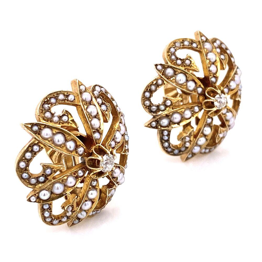 """Image 2 for 14K Yellow Gold Victorian Seed Pearl & .20tcw Diamond Clip Earrings 17.1g, 1.1"""" Diameter"""
