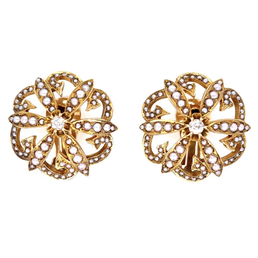 "14K Yellow Gold Victorian Seed Pearl & .20tcw Diamond Clip Earrings 17.1g, 1.1"" Diameter"