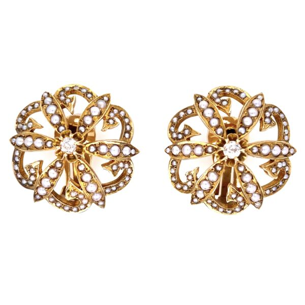 "Closeup photo of 14K Yellow Gold Victorian Seed Pearl & .20tcw Diamond Clip Earrings 17.1g, 1.1"" Diameter"