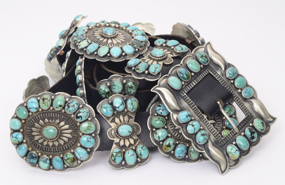 925 Sterling Silver Native OLD PAWN Concho Belt Blue & Green Turquoise 17 Stations