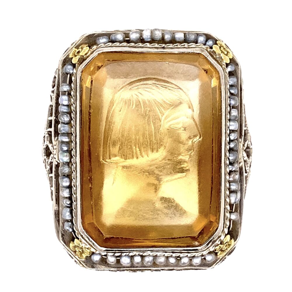 14K White Gold Art Deco Citrine Intaglio & Seed Pearl Ring 6.6g, s7