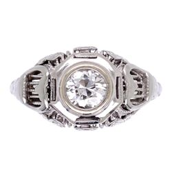 Closeup photo of 14K White Gold Art Deco .35ct OEC Diamond Filigree Ring 2.95g, s5.5