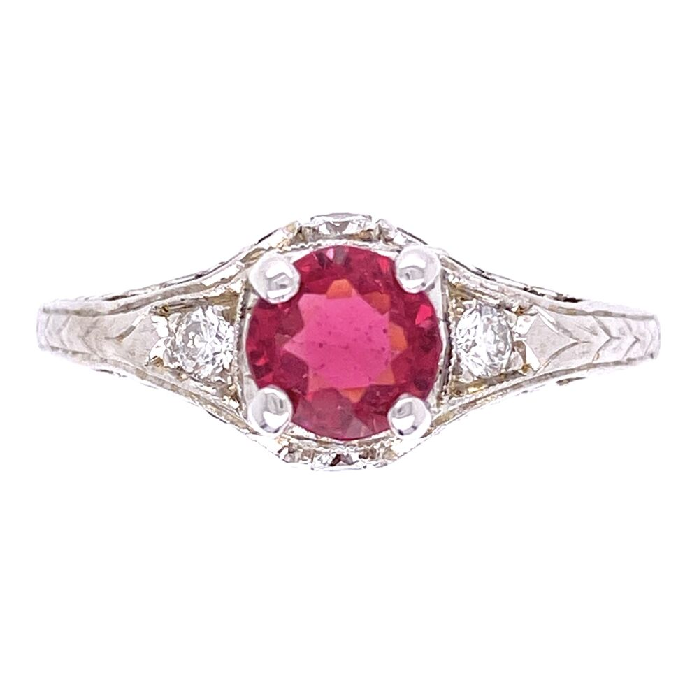 14K White Gold .97ct Red Spinel & .20tcw Diamond Engraved Ring 3.3g, s8.5