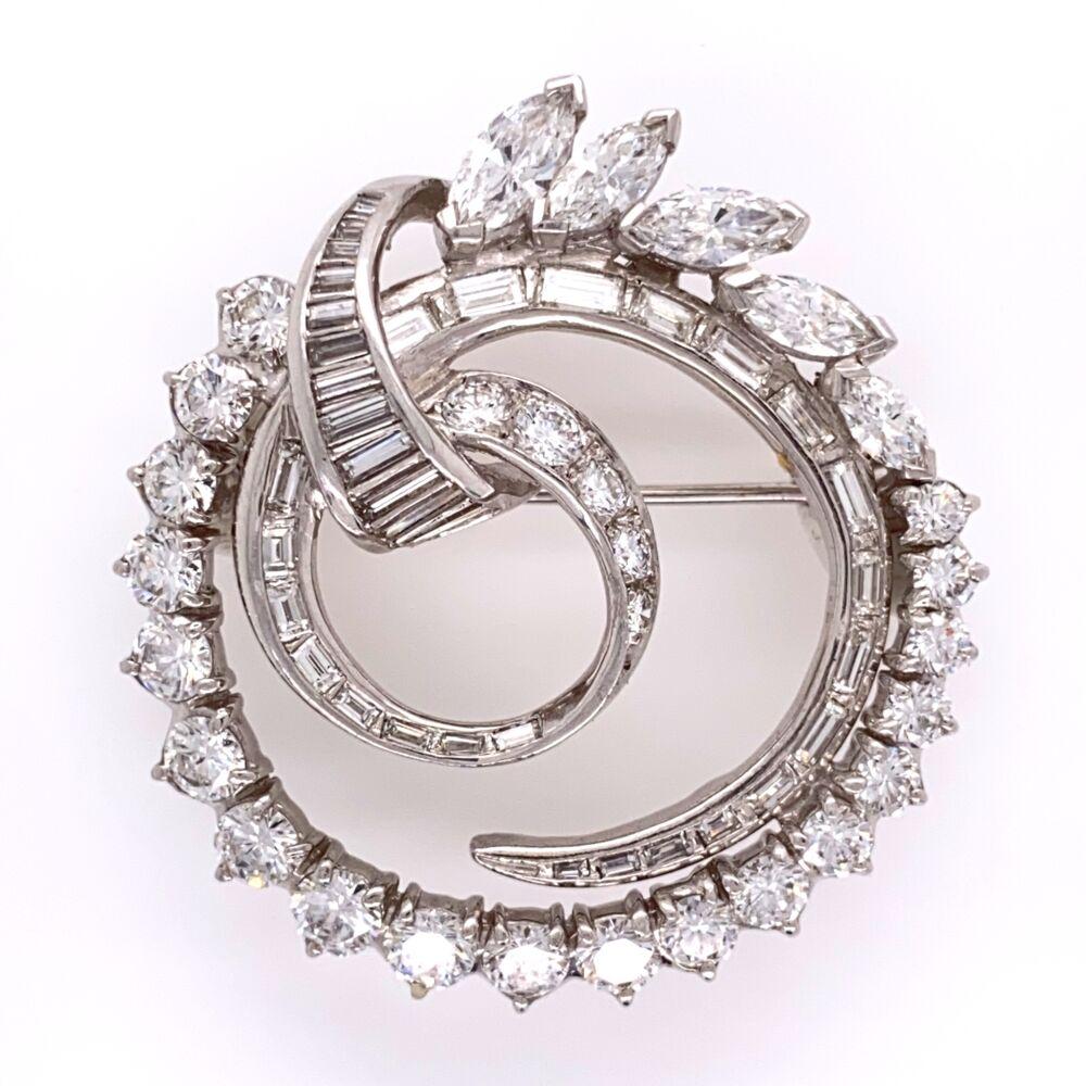 "Platinum 1950's Circle Spray Brooch 4.41tcw 1 1/3"" Tall 14.1g"