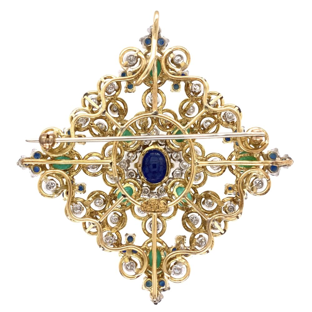 Image 2 for 18K Yellow Gold 1960's Pendant Brooch 3.00tcw Diamond 4tcw Sapphire & 2.5tcw Emeralds 29.0g
