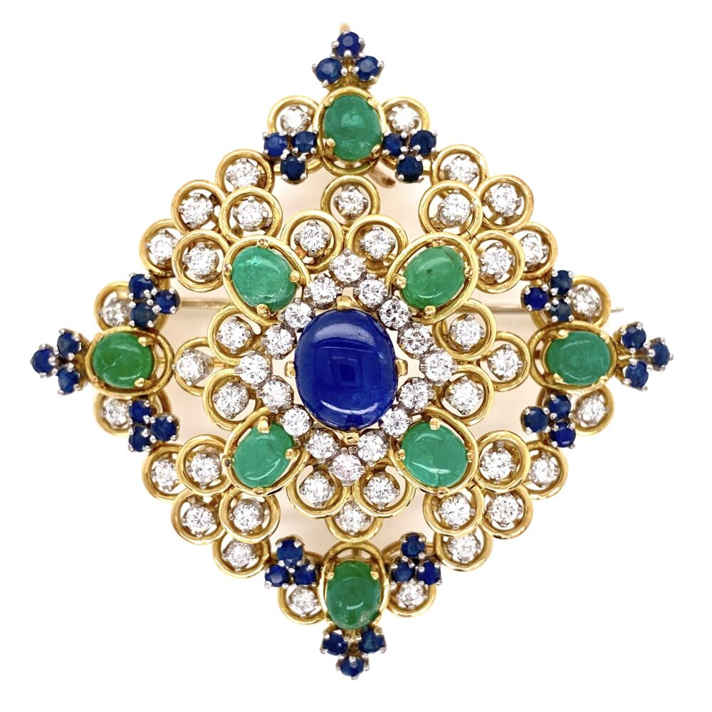 18K Yellow Gold 1960's Pendant Brooch 3.00tcw Diamond 4tcw Sapphire & 2.5tcw Emeralds 29.0g