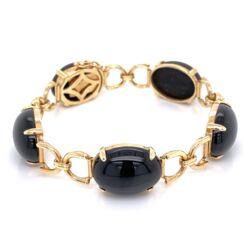 "Closeup photo of 14K Yellow Gold GUMP'S Black Jade Link Bracelet 18.0g, 6"""
