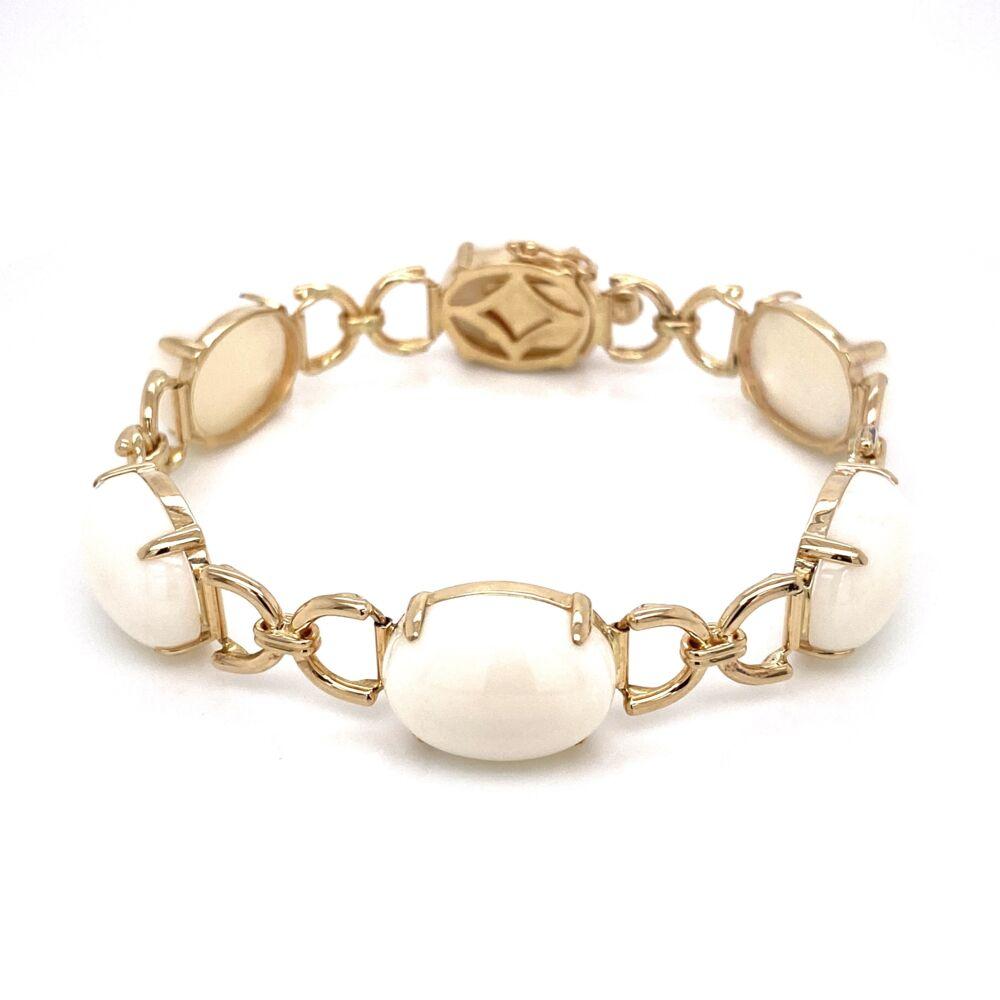 "14K Yellow Gold GUMPS White Coral Link Bracelet 23.4g, 7"""