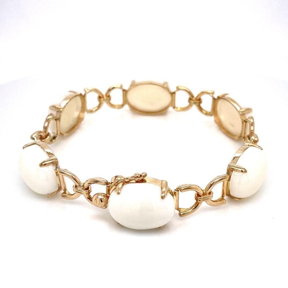 "Image 2 for 14K Yellow Gold GUMPS White Coral Link Bracelet 23.4g, 7"""