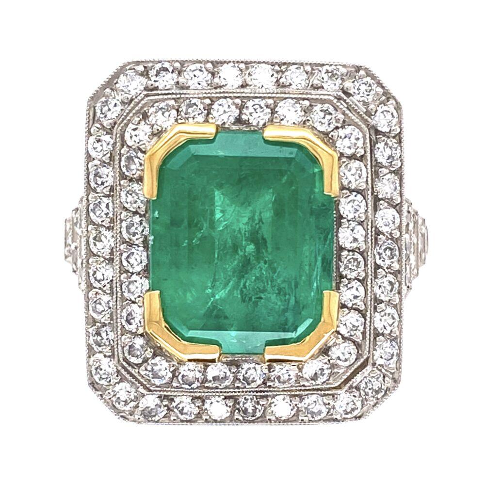 Platinum 4.52ct Emerald Cut Emerald Ring with 1.05tcw Diamonds 9.5g