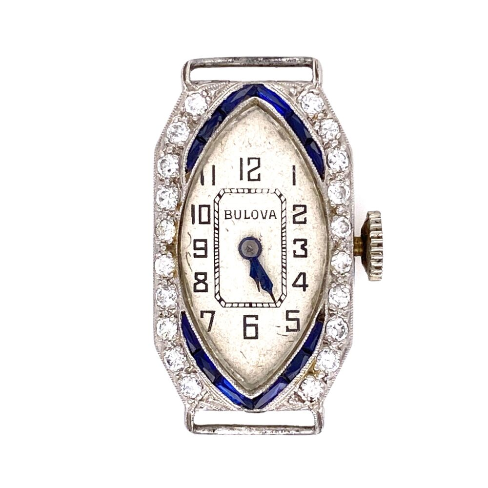 Platinum Art Deco c1927 BULOVA Diamond Watch .35tcw & Blue Stones 10.2g