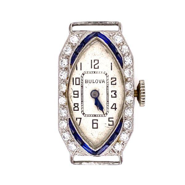 Closeup photo of Platinum Art Deco c1927 BULOVA Diamond Watch .35tcw & Blue Stones 10.2g
