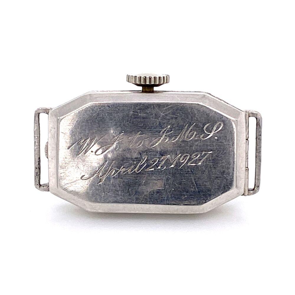 Image 2 for Platinum Art Deco c1927 BULOVA Diamond Watch .35tcw & Blue Stones 10.2g