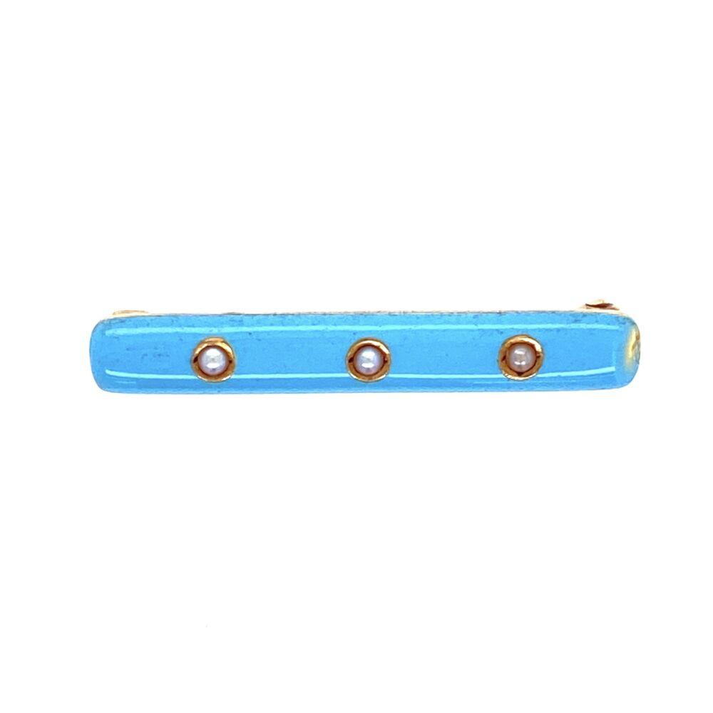 14K YG Art Deco CARTIER Brooch Powder Blue Enamel & Seed Pearls
