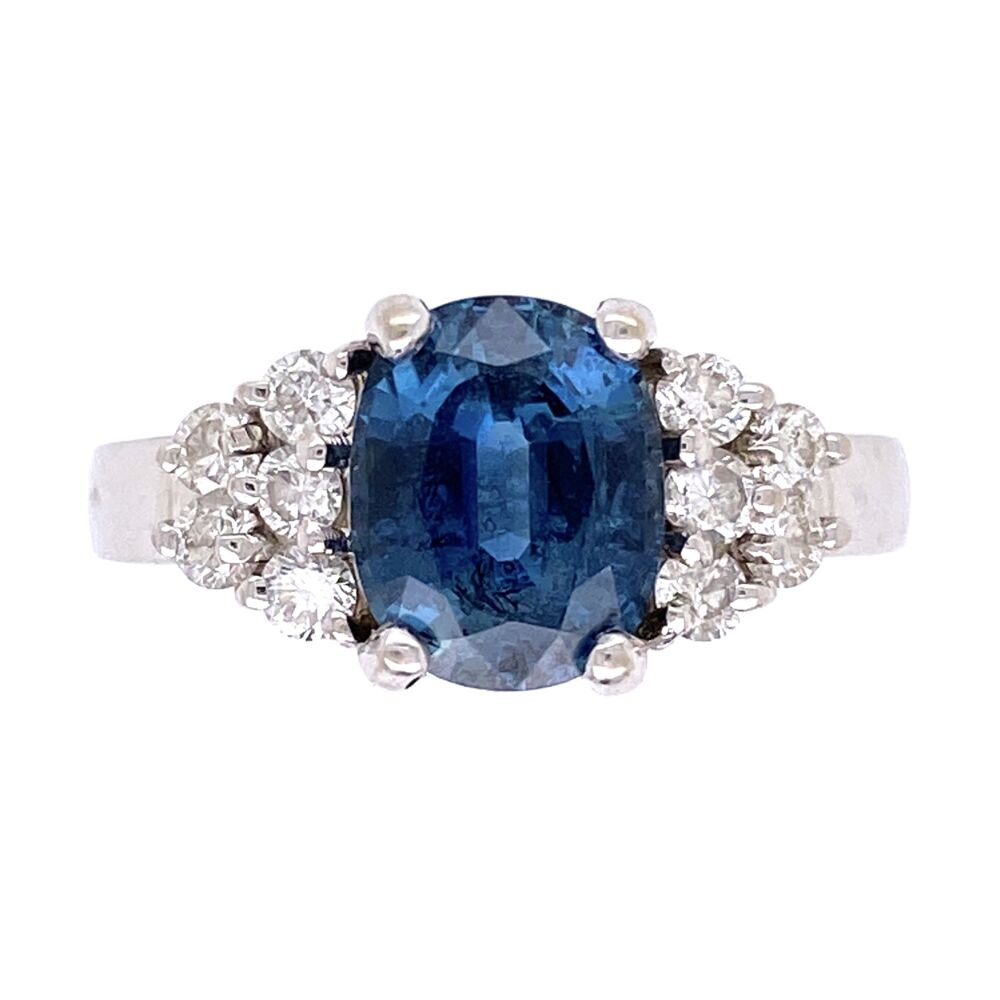 14K White Gold 2.00ct Oval Blue Sapphire & .50tcw Diamond Ring 5.2g, s6