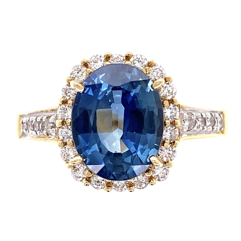 18K Yellow Gold 2.75ct Oval Sapphire & .40tcw Diamond Ring 5.2g, s6.25