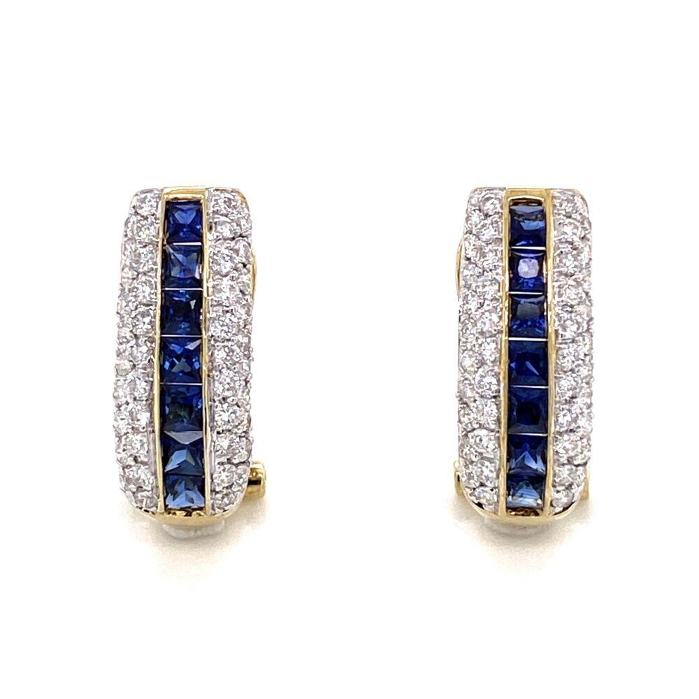 "14K Yellow Gold 1.50tcw Sapphire Channel Set Earrings with 1.00tcw Diamonds 4.2g, .75"""