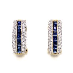 Closeup photo of 14K Yellow Gold 1.50tcw Sapphire Channel Set Earrings with 1.00tcw Diamonds 4.2g, .75""