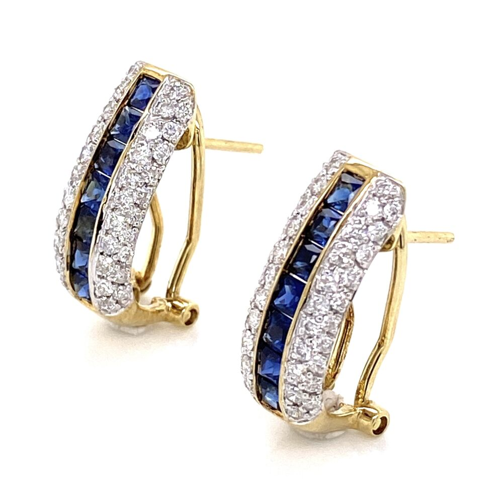"""Image 2 for 14K Yellow Gold 1.50tcw Sapphire Channel Set Earrings with 1.00tcw Diamonds 4.2g, .75"""""""