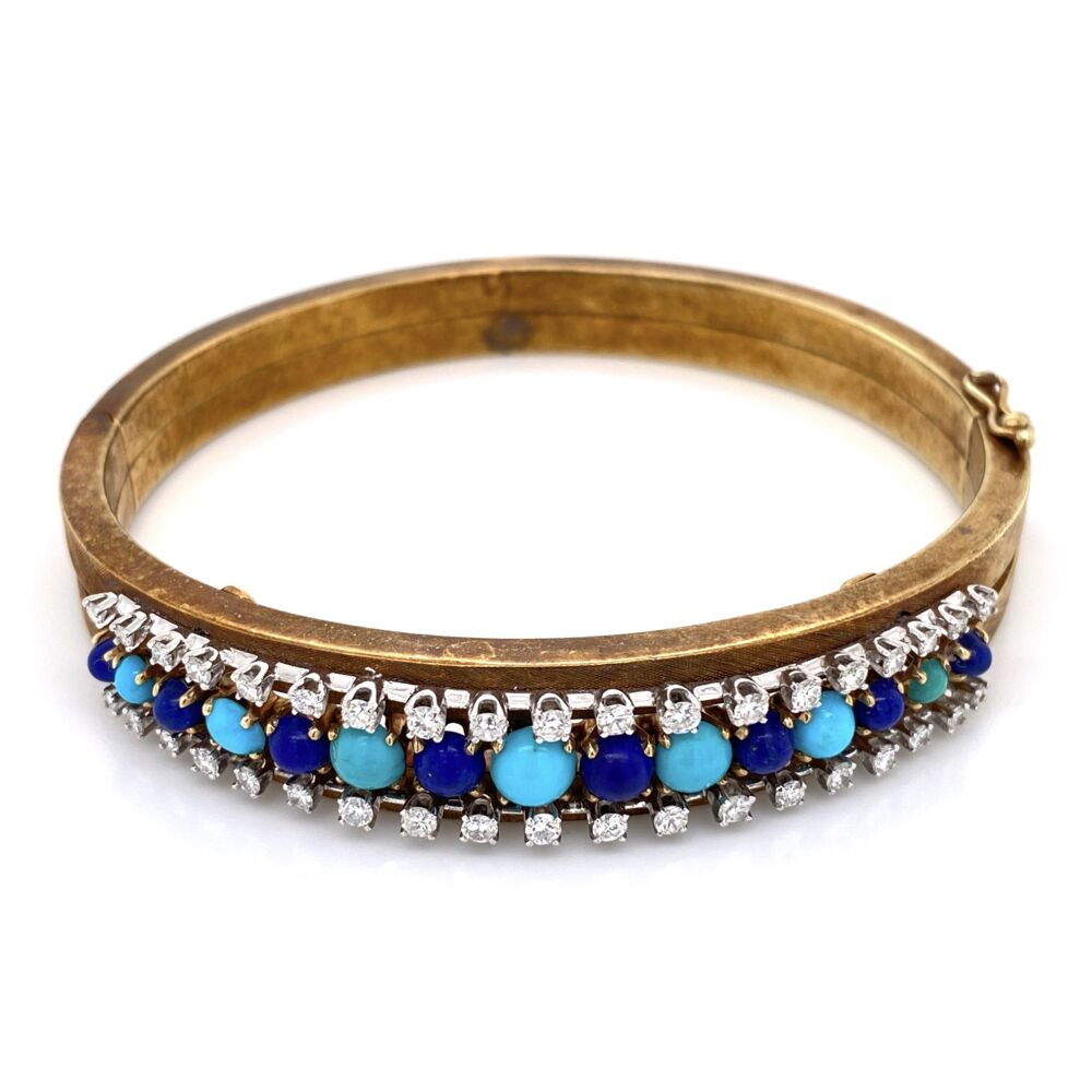 14K Yellow Gold Lapis & Turquoise Bangle  with 1.00tcw Diamond Bangle 26.9g,
