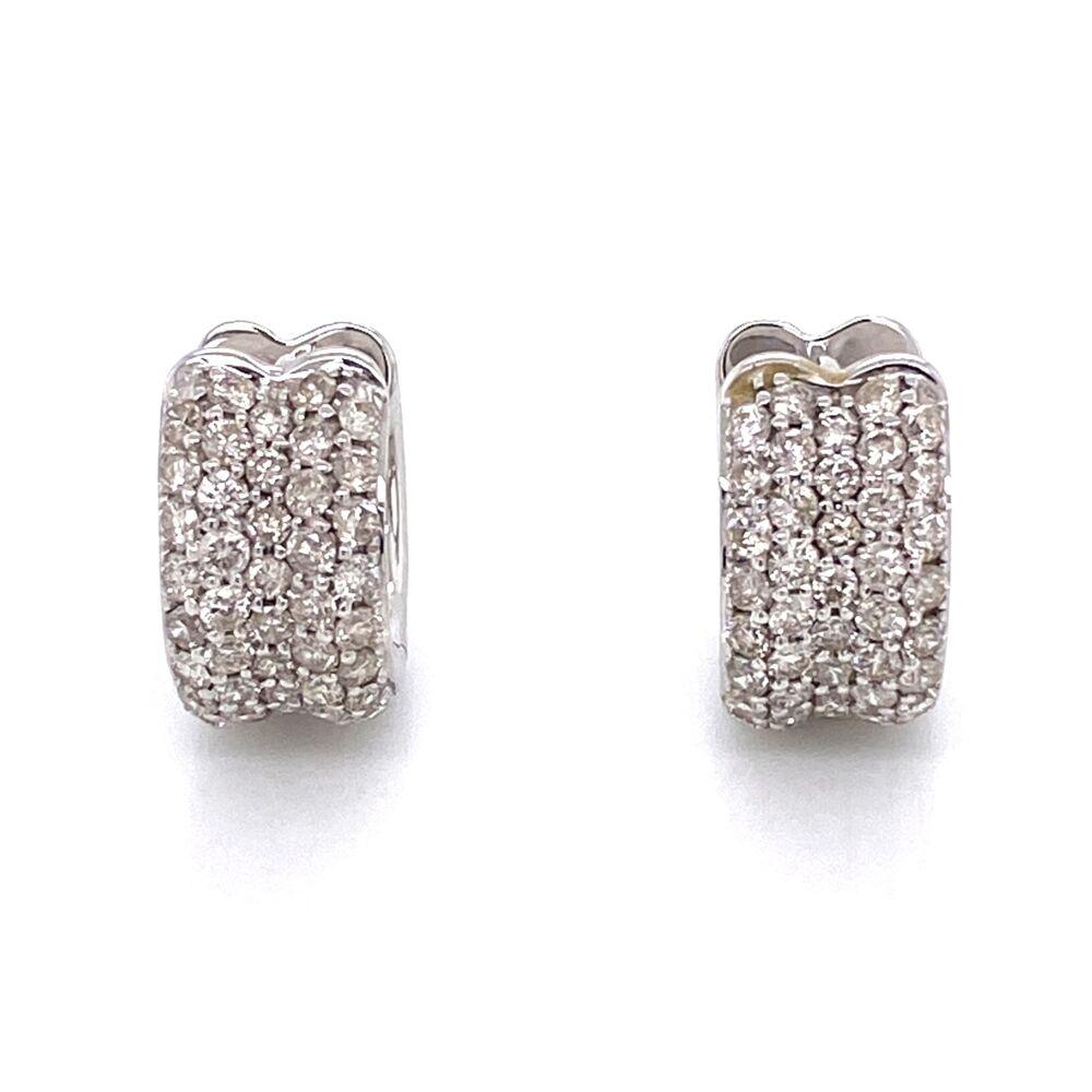 14K White Gold Pave Huggy Hoop Earrings 1.14tcw 5.9g