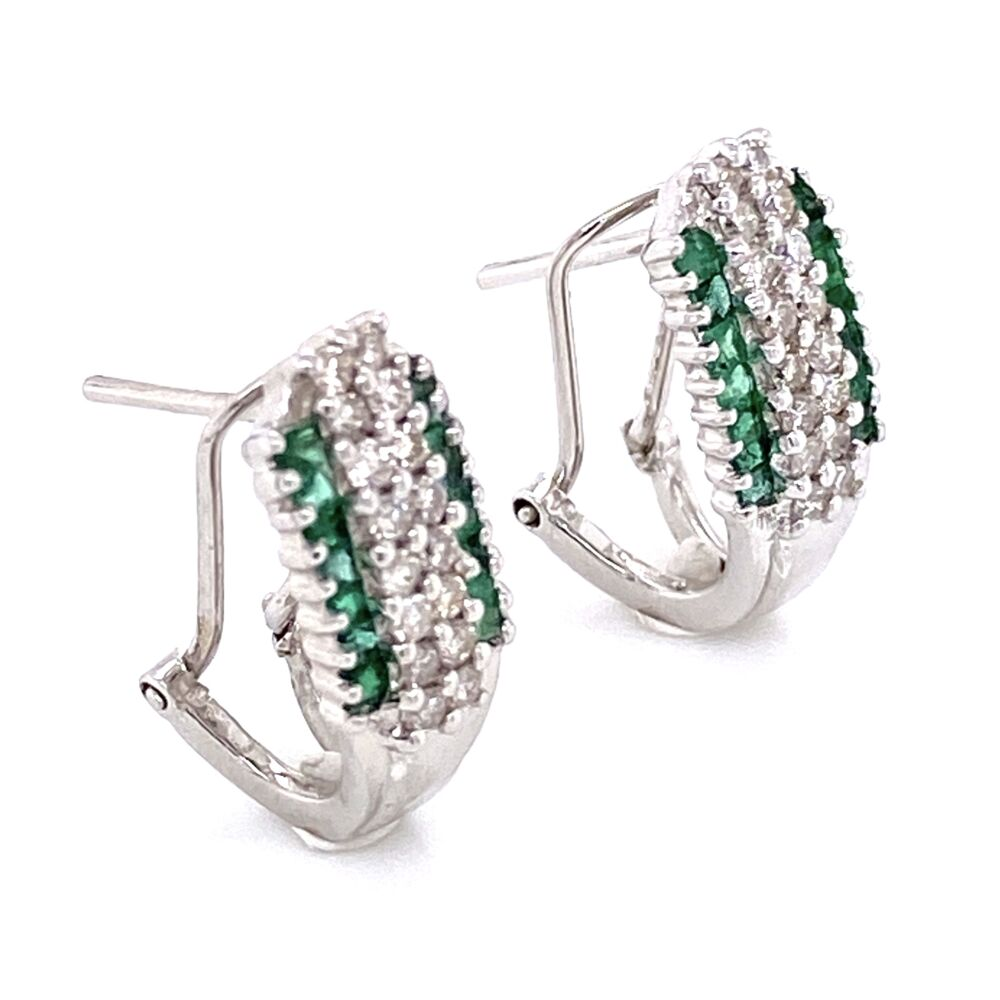 Image 2 for 14K White Gold .50tcw Diamond & .30tcw Emerald Clip Earrings 2.8g