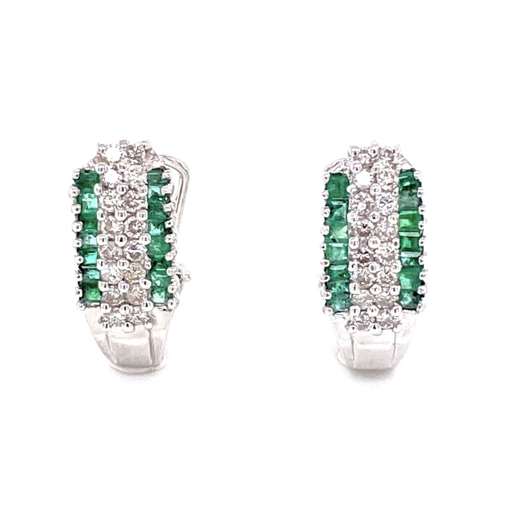 14K White Gold .50tcw Diamond & .30tcw Emerald Clip Earrings 2.8g