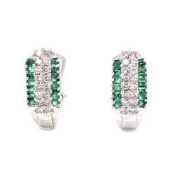 Closeup photo of 14K White Gold .50tcw Diamond & .30tcw Emerald Clip Earrings 2.8g