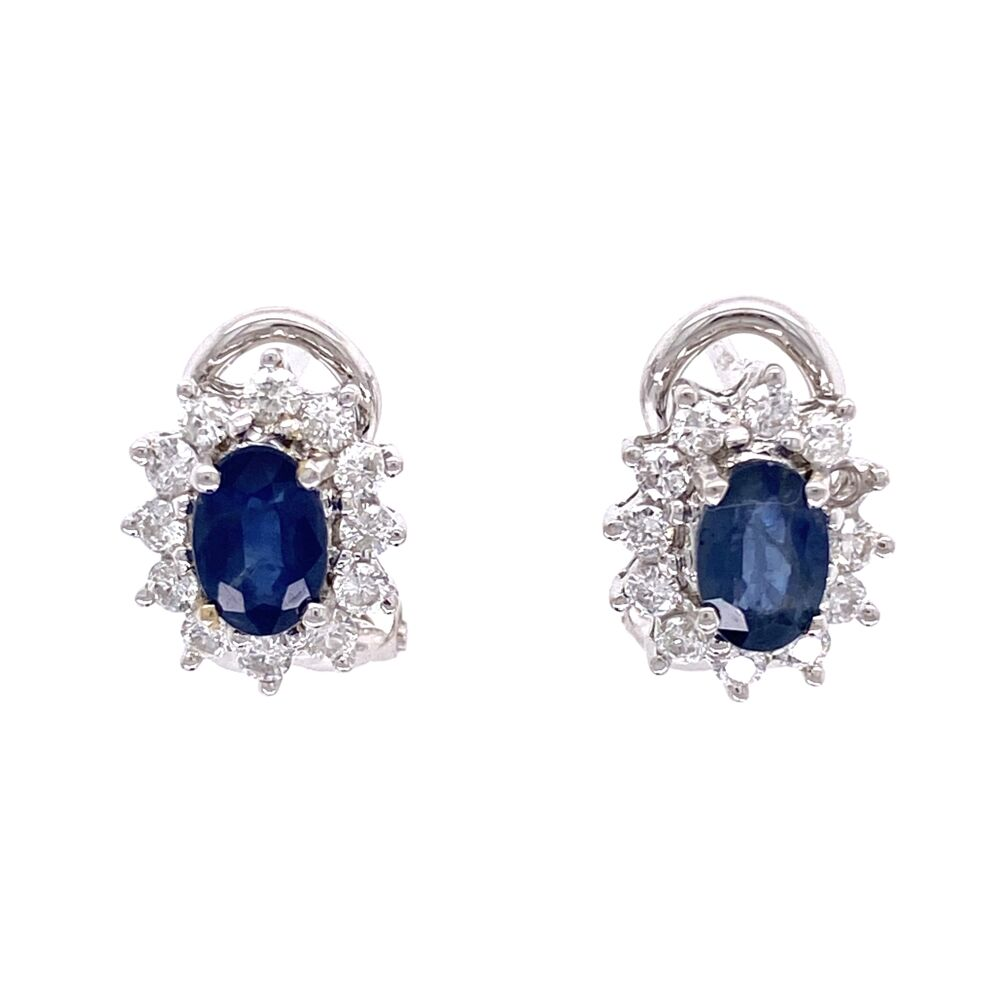 18K White Gold 1.00tcw Sapphire & .75tcw Diamond Halo Clip Earrings 4.3g