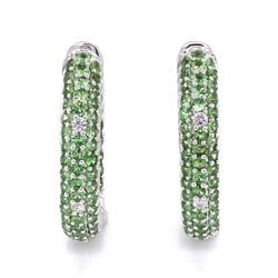 Closeup photo of 14K White Gold Inside Out Tsavorite & Diamond Hoop Earrings 3.10tcw 10.7g, 1""