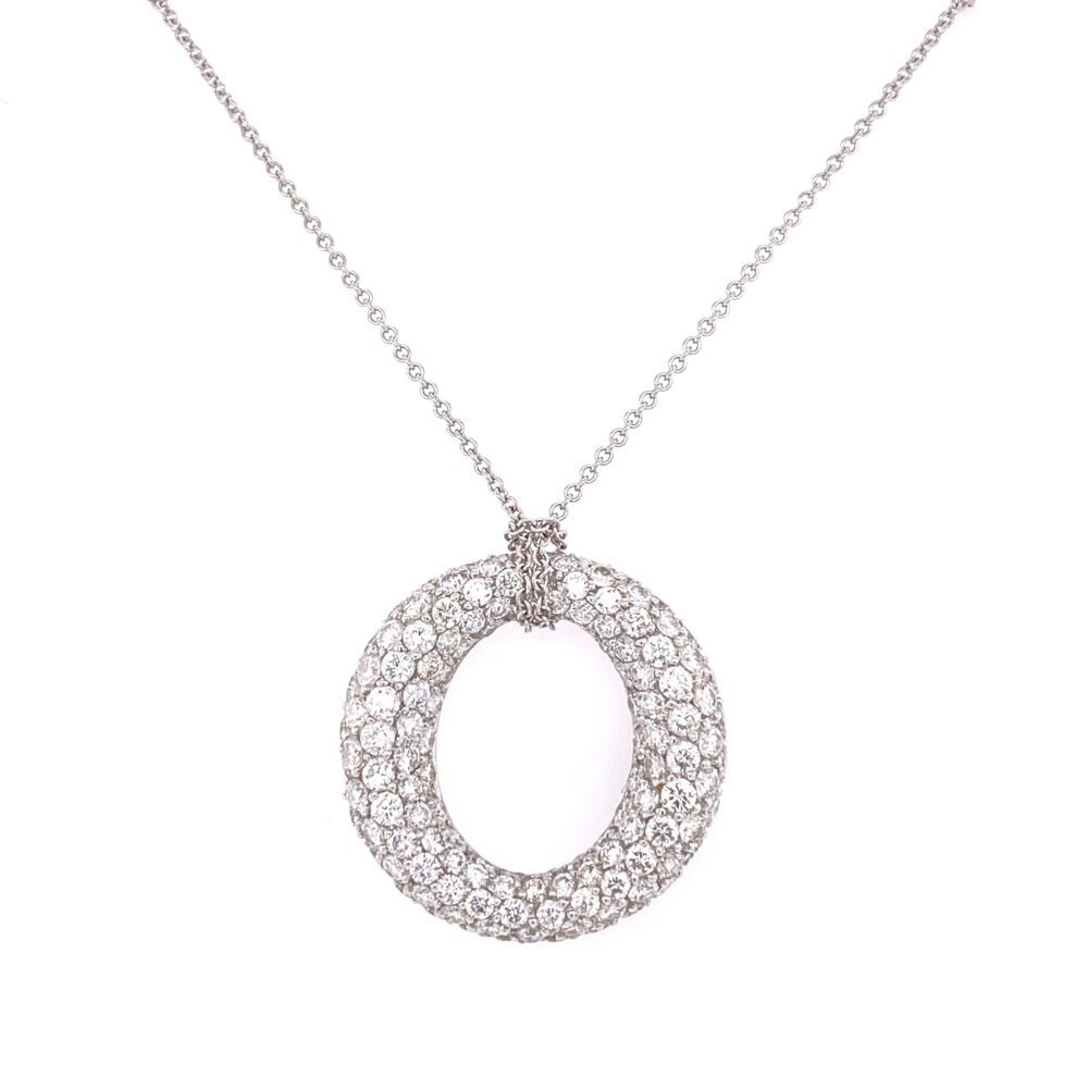 """18K White Gold Open Oval Pave Diamond Necklace 3.10tcw, 7.8g, 16.5"""" Chain"""