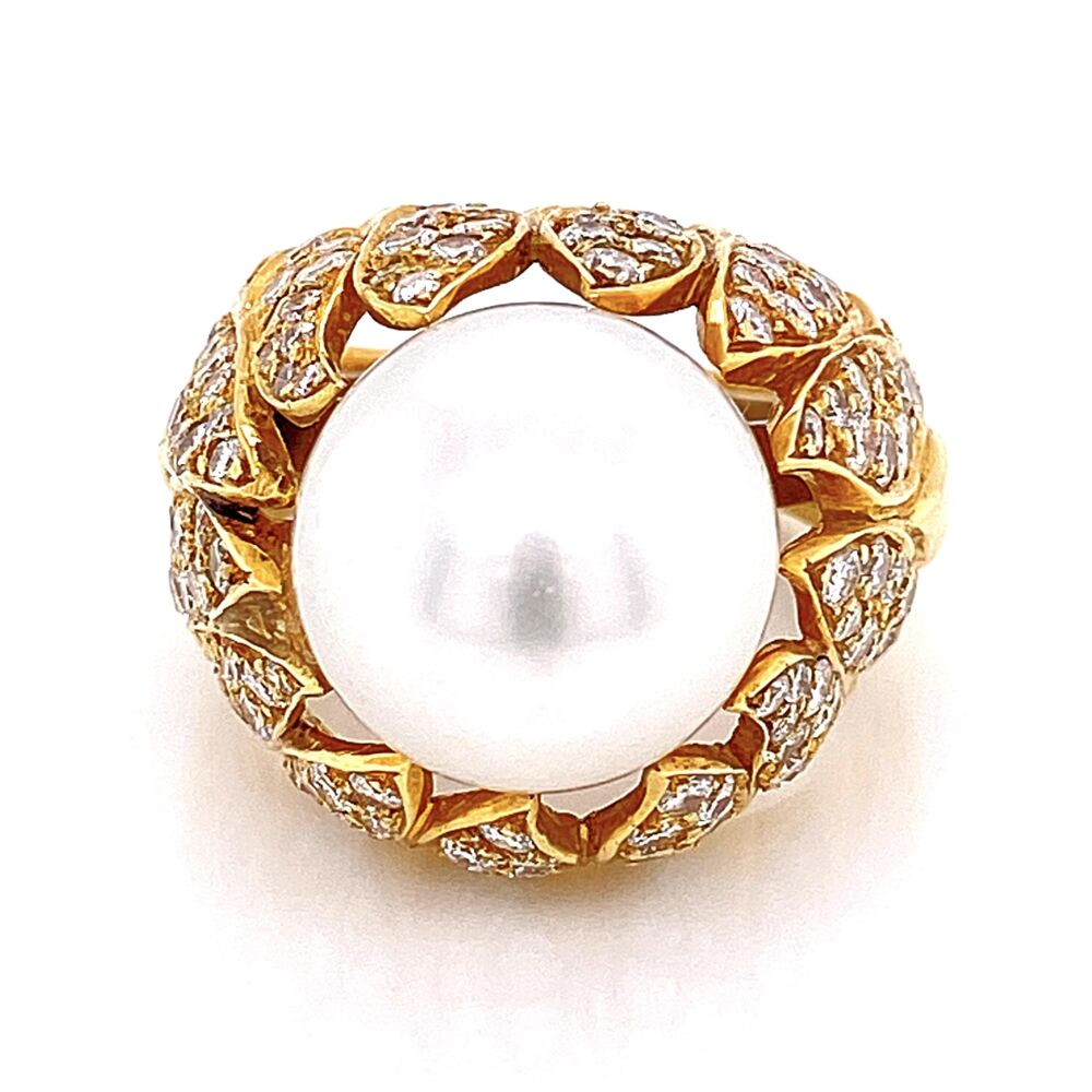 Image 2 for 18K Yellow Gold Bombay South Sea Pearl Ring 16.5, 2.50tcw Diamonds