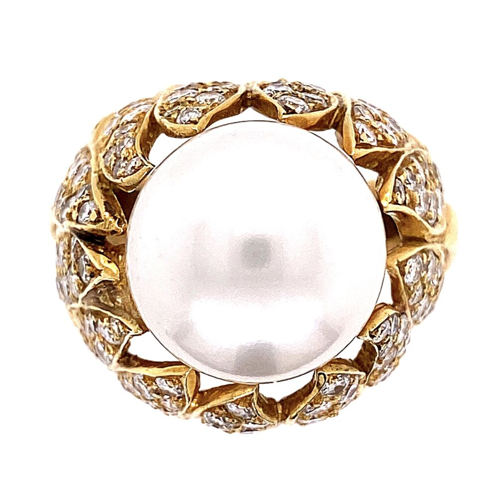 18K Yellow Gold Bombay South Sea Pearl Ring 16.5, 2.50tcw Diamonds