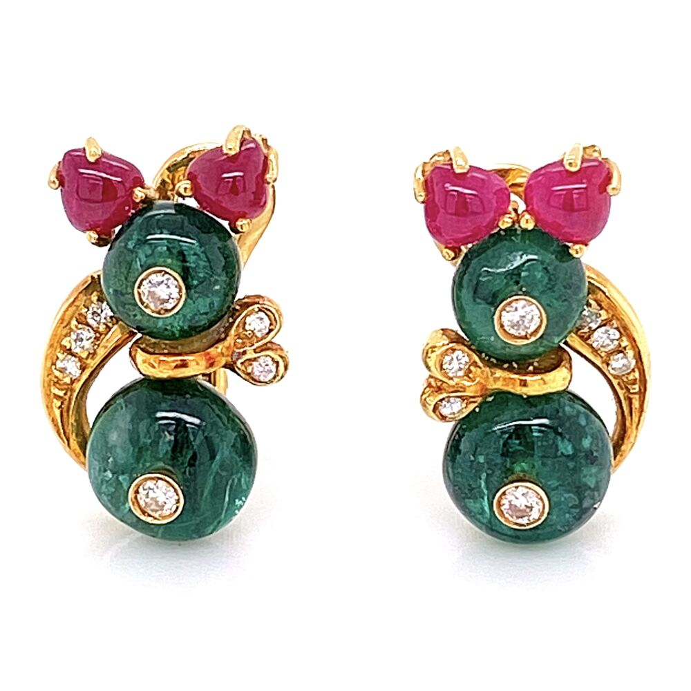 18K Yellow Gold GIOVANE Minnie Mouse Ruby, Emerald, Diamond Earrings