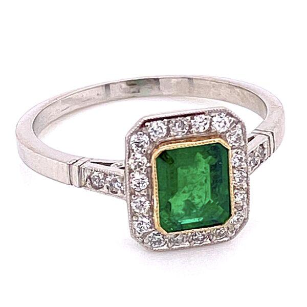 Closeup photo of Platinum 1ct Emerald & .24tcw Diamonds 3.7g, s7